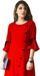 Party and casual wear A-line Rayon Ladies Kurtis, Age Group: 12 Years To 50 Years