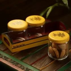 Exclusivelane Yellow Tripling Warli Hand-Painted Snacks Jar Set In Glass With Wooden Tray