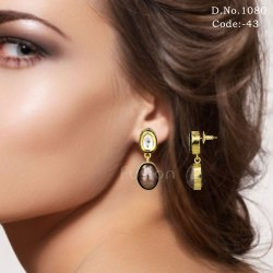 Traditional Antique Delicate Kundan Earrings with Pearl