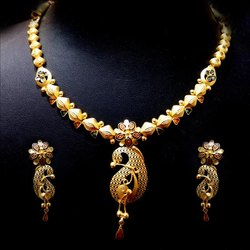 Jewels Box Party Wear Gold Antique Necklace Set, Packaging Type: Box