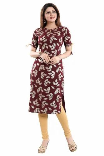 57bb51b16 Anarkali Half Sleeve ALC Creations Women  s Crepe Kurti
