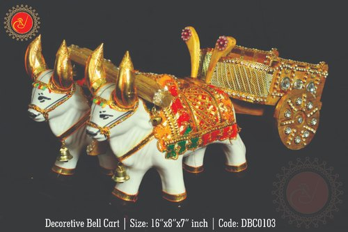 Golden Decorative Bell Cart (Set of 2)