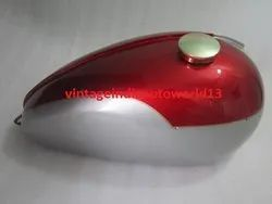 Brand New Triumph T120 Cherry And Silver Painted Petrol Tank  With Brass Cap And Tap