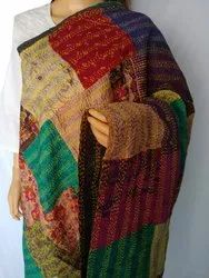 Patchwork Reversible Kantha Dupatta-Stole-Vintage Ikat Silk Kantha Scarf-Bohemian Boho Shawl