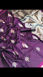 Tussar Riva Enterprise Handloom Weaving Silk Designer Saree with Blouse Piece