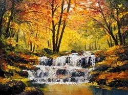 Waterfall In Middle Of Dense Forest