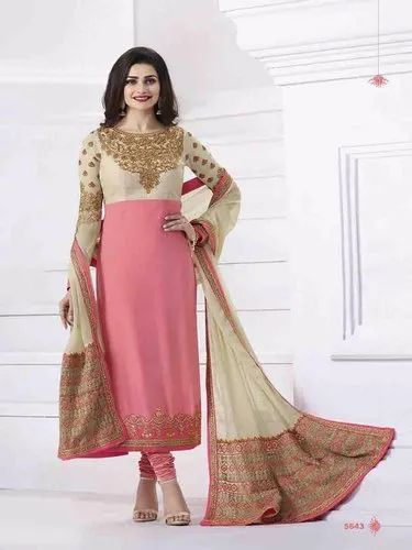 cc26b014a Pink And Cream Womens Party Wear Semistitched Salwar Suit With Dupatta