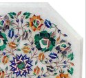 Table Top Handmade White Marble Inlay Home Decor