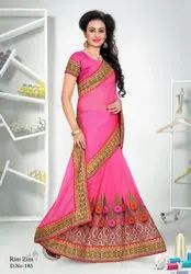 Rim Zim Wedding Wear Embroidery Sarees, With Blouse Piece, 6.3m