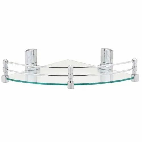 Transparent And Silver Glass And Ss Glass Corner Shelf, Packaging Type: Box