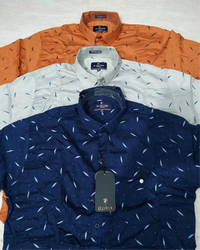 Multicolor Collar Neck Printed Colors Men Shirts