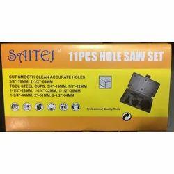 SAITEJ High Speed Steel Hole Saw Set - 11pcs, For Cut Thru Wood & Pipes