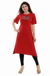 Embroidered Crepe Kurti