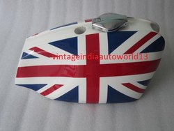 New Bsa B25 B44 Starfire Painted Steel Gas Fuel Tank With Cap(Uk Flag)