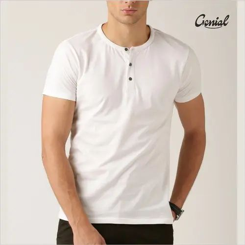 Henley Neck Half Sleeve Cotton T-Shirt
