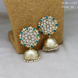 Antique Kundan Tops with Pearl Jhumka Earrings