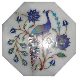 Semi Precious Stone Inlay Handicraft Work White Marble Table Top