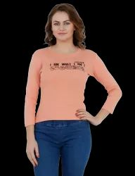 Poly Cotton Printed T-Shirt For Women's