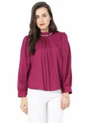 American Crepe Plain Designer Pearl Beaded Top