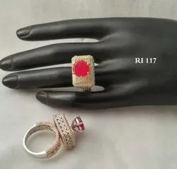 Party Wear American Diamond Studded Round Ring