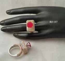 RI Party Wear American Diamond Studded Round Ring