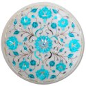 White Coffee Table Marble Inlay Pietra Dura Art Handmade