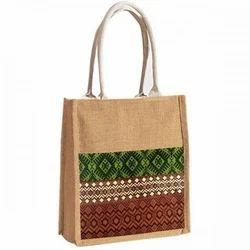 Long Shoulder Length Multicolor Jute Carry Bag