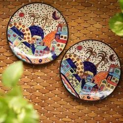 Exclusivelane 'The Hut Couple' Hand-Painted Ceramic Dinner Plates (10 Inch, Set Of 2)
