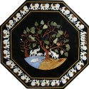 Black Marble Inlay Table Top Home And Garden Decor