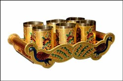 Peacock Design Wooden Steel Meenakari Serving Tray With Glass