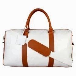 White, Brown Vamsum Plain PU Leather Travel Bag