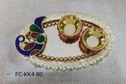 Meenakari Peacock Kumkum Plate (FC-KK4)