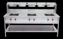 Commercial Cooking Range Ss304 Three Burner Cooking Range With G.n. Pan, For Commercial