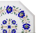 White Marble Side Table Top Handmade Floral Inlay Home Decor