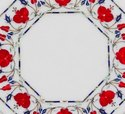 Red Flower Designer White Marble Inlay Coffee Table Top