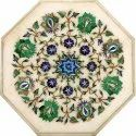 White Marble Inlay Flower Design Coffee Table Top