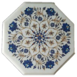 White Marble Table Tops Inlay Work