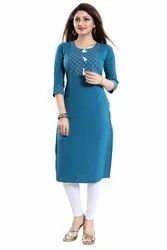 Teal Coloured 3/4th Sleeves Crepe Kurti