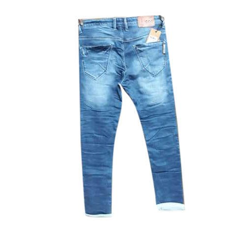 Regular Fit Blue Faded Mens Party Wear Jeans, Size: 28-38