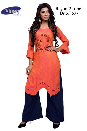 b58d5b99ee Party Wear Vitrag Fancy 2-Tone Rayon Embroidered Kurti with Palazzo, Size:  Medium