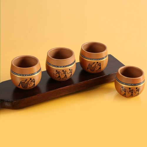 Exclusivelane ' ' New-Old World Charms' '  Warli Hand-Painted Kulhads In Terracotta (Set Of 4)