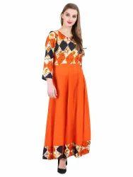 Multicolor 16 Always Orange Printed Cotton/Rayon Anarkali Kurti, Handwash