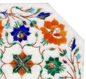 White Marble Inlay Coffee And Dining Table Top Restaurant Decor