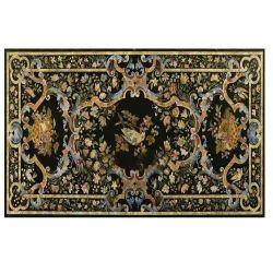 Marble Side Dining Table Top Inlay Semi Precious Stone Handmade Work