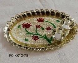 Meenakari Laminated Kumkum Rice Plate (FC-KK12)