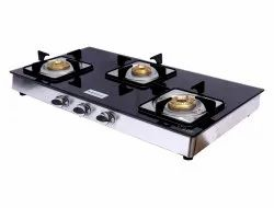 Brightflame 3 Burner Black Glass Gas Stove, Size: 82 X 49 X 16 Cm, for Home