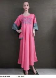 Pink Color Embroidery Kurti