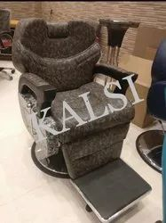 Brown Synthetic Leather Parlour Chair Heavy Barber Model, For Professional, With Footrest
