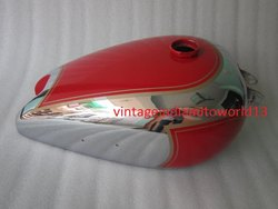 New Bsa B31 Red Painted Chrome Gas Fuel Tank (Reproduction)