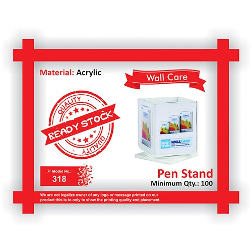 Acrylic Square 318 Wall Cae Pen Stand
